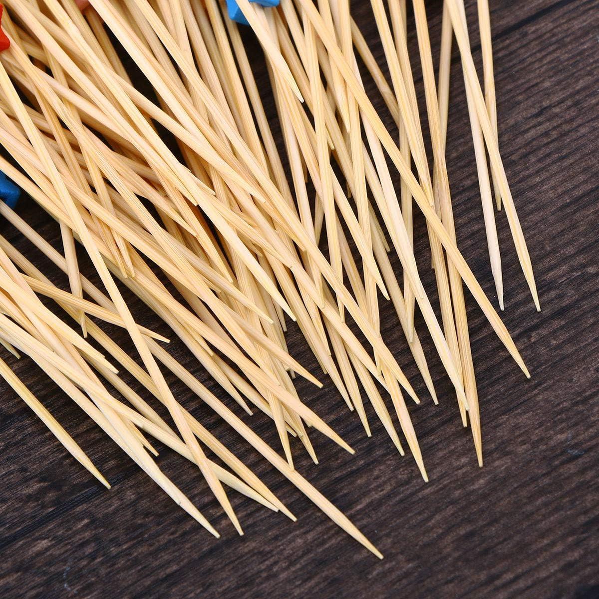 Couleur m/élang/ée BESTonZON 200pcs /étoiles Cocktail perl/é Pics Cure-Dents Fruits en Bambou jetables Sandwiches ap/éritif b/âtons de Cocktail Parti fournitures12cm