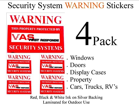 Vas 150 4 pack of door window warning stickers with uv fade protection