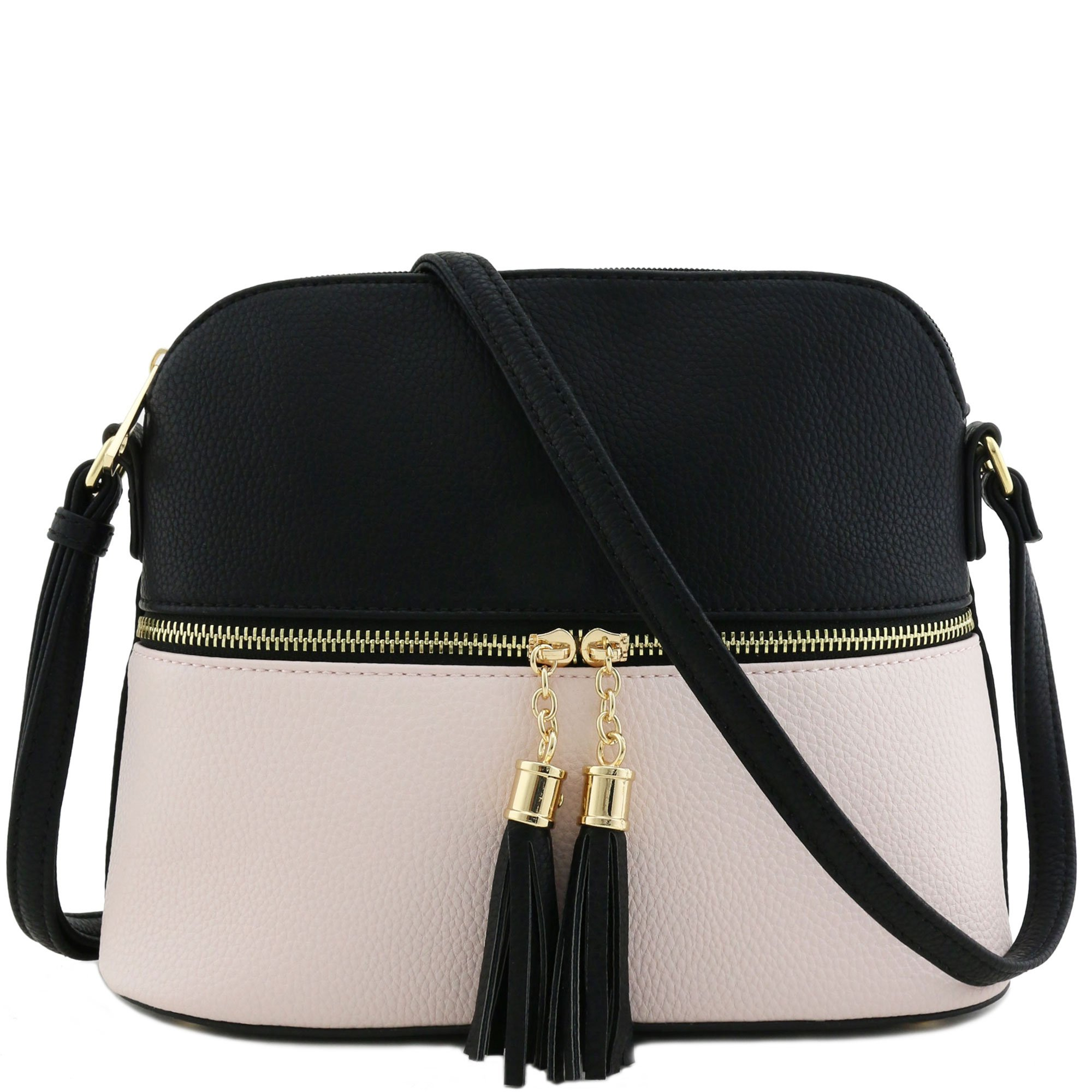 Tassel Zipper Pocket Crossbody Bag (Black/Light Nude)
