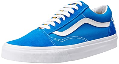 Vans Unisex Old Skool (1966) Blue, White and Red Leather Sneakers - 10