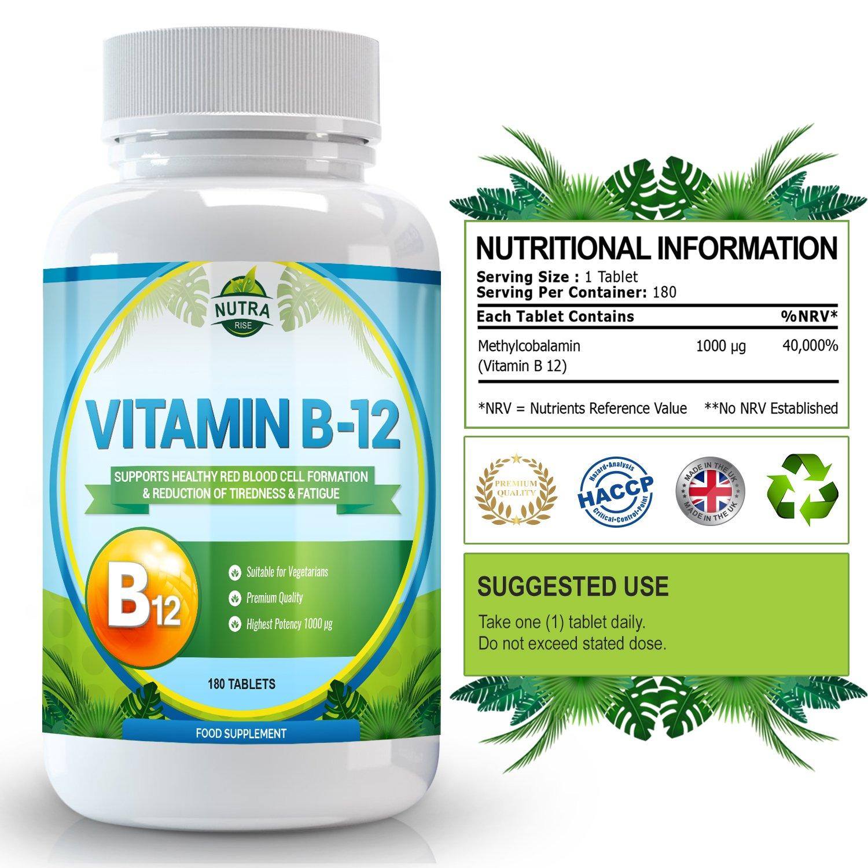 Suplemento de Vitamina B12 para el cerebro que ayuda al sistema nervioso y a la memoria - 180 pastillas: Amazon.es: ...