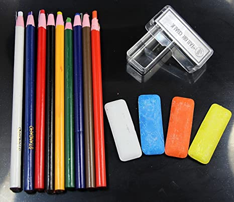 WellieSTR 10 Assorted Color Peel-Off China Markers,GREASE PENCIL And 4 Mini Tailors Chalk White//Blue//Orange//Yellow Kit For Sewing DIY