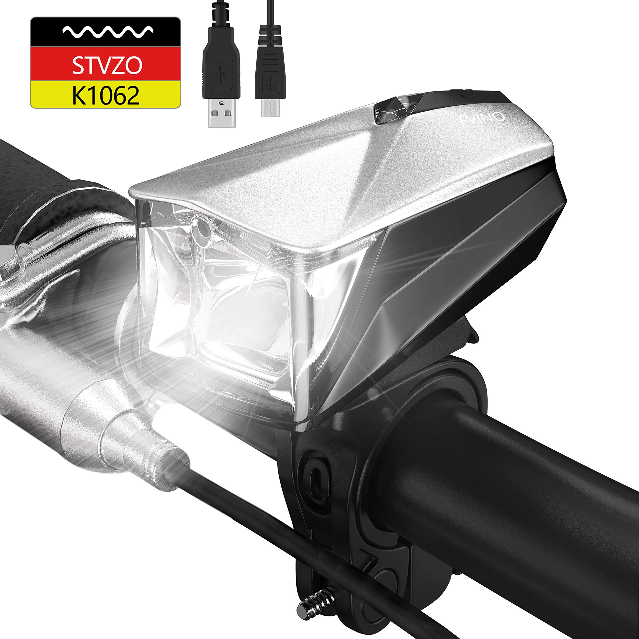 Fvino LED Fahrradlicht StVZO zugelassen USB aufladbare intelligente Sensorschalter & Helligkeitanpassung Fahrrad Frontlichter und Rücklicht wasserdicht stoßfest energiesparend