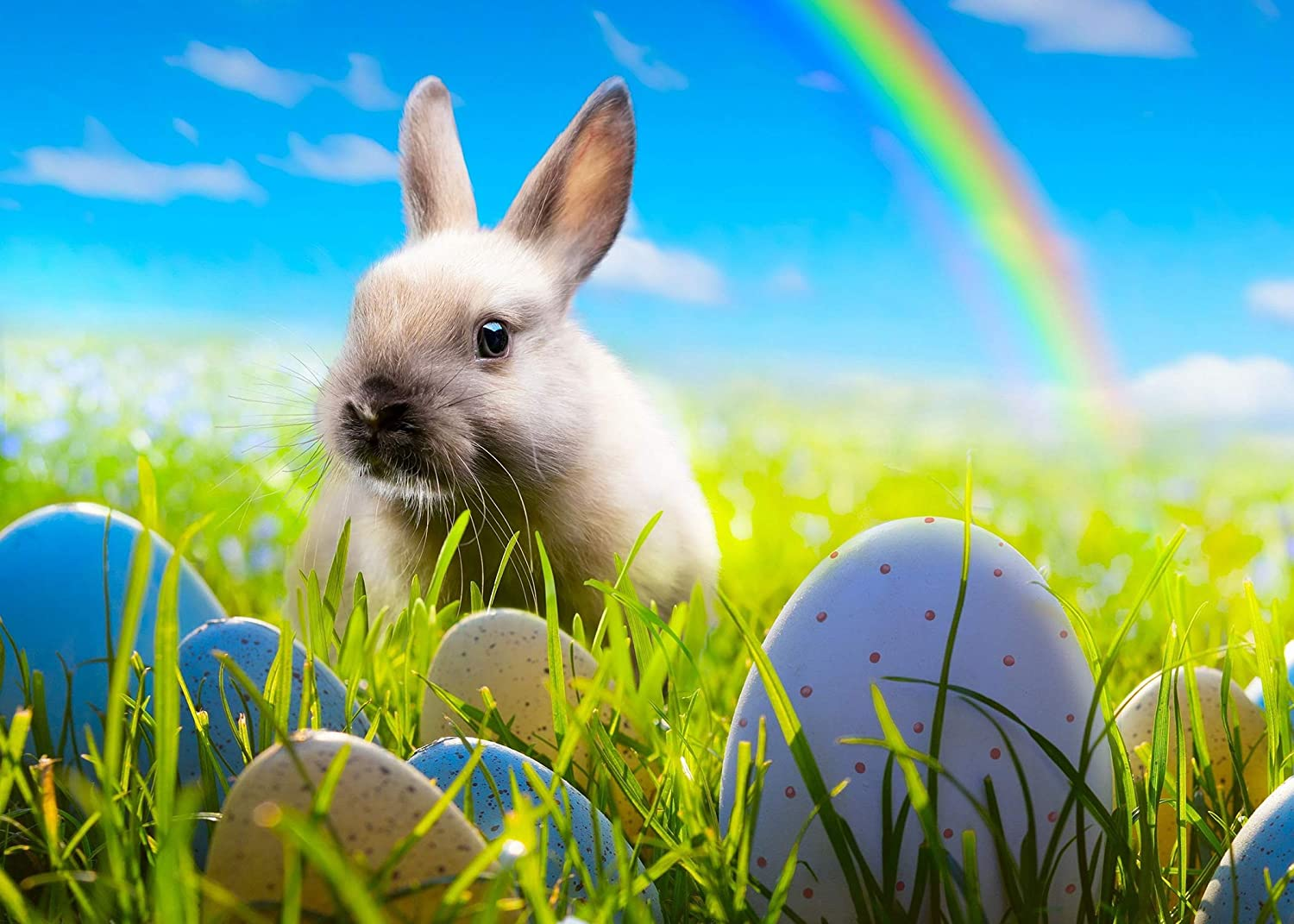 Happy Easter Backdrop 10x7ft Colorful Eggs Rabbit Rainbow Blue Sky Background Cake Table Banner Photo Studio Props LSGE1822