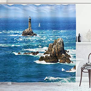 Ambesonne Lighthouse Shower Curtain, Daytime Lighthouse Wavy Ocean View and Clear Sky Rocky Islands Sailboat, Cloth Fabric Bathroom Decor Set with Hooks, 70