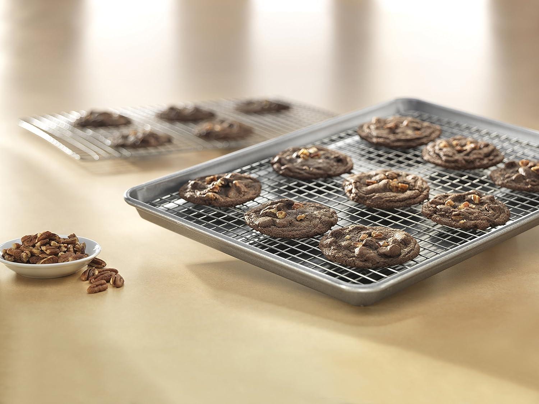 Set of 2 USA Pan 1602AMZ Bakeware Half Sheet Nonstick Cooling Baking Rack