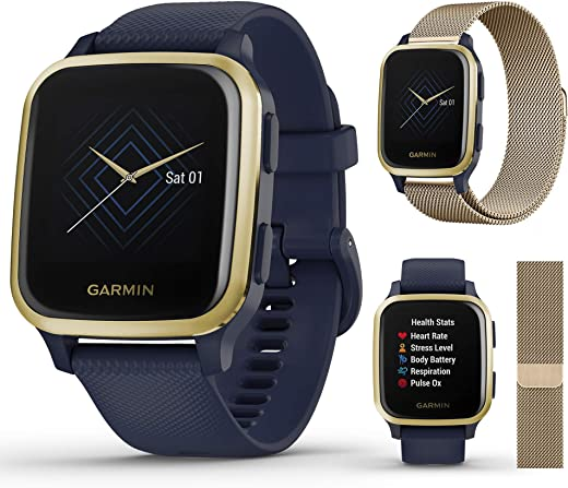 Garmin Venu Sq Music (Navy/Light Gold) Extra Style Band Bundle | 2020 Model | with Milanese Metal Watch Band (Vintage Gold) by PlayBetter | Bright Screen & Wrist-Based HR | Fitness GPS Smartwatch