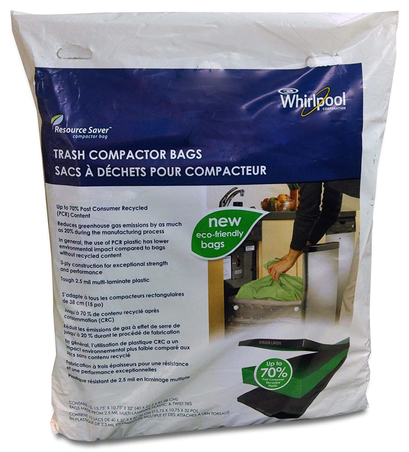 Amazon.com: Whirlpool W10165294RB 15 Inch Plastic Compactor Ba, Pack Of 60:  Home Improvement