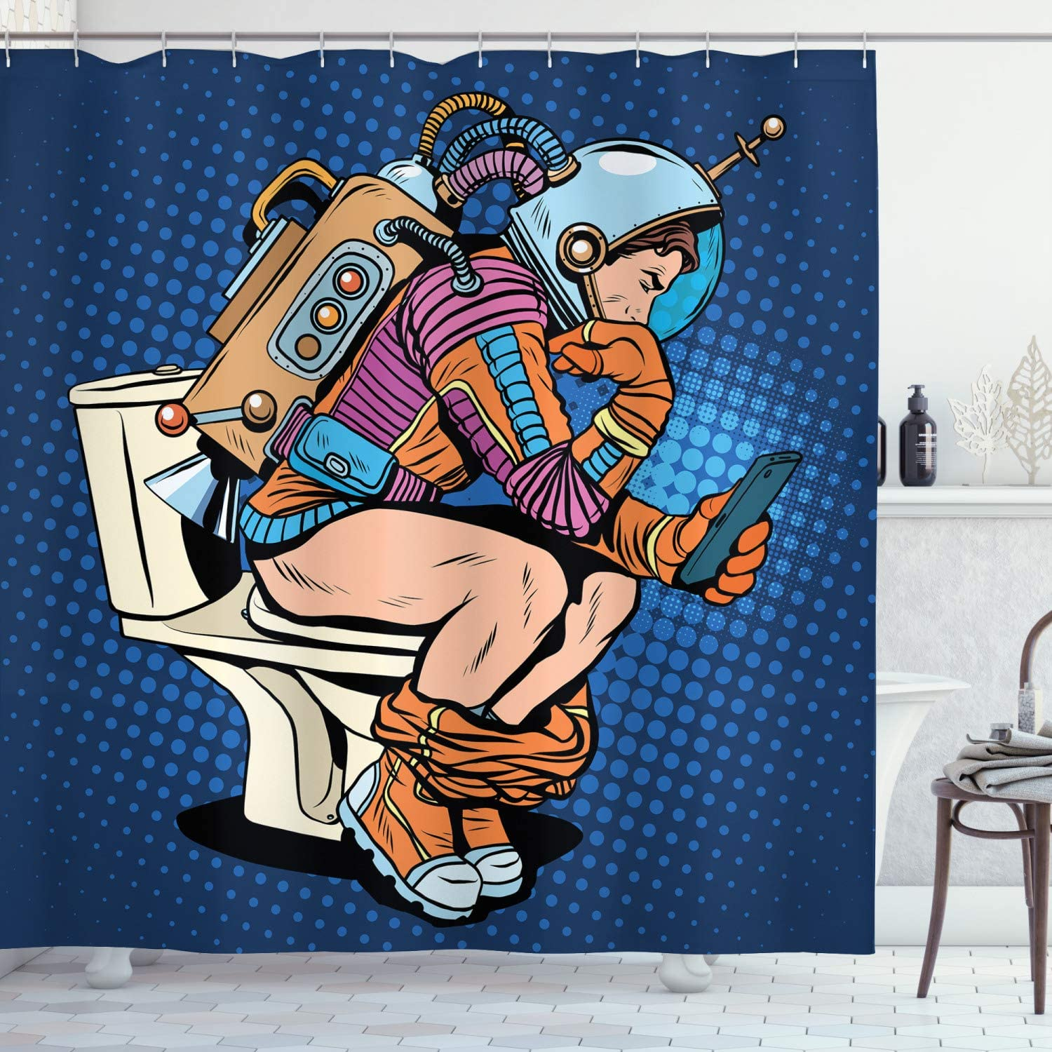 """Ambesonne Astronaut Shower Curtain, Futuristic Thinking Man with Smartphone on Toilet Wasting Time Playing, Cloth Fabric Bathroom Decor Set with Hooks, 70"""" Long, Dark Blue"""