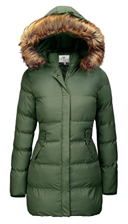 f76003f009b7cd WenVen Women's Winter Thicken Puffer Coat with Fur Removable Hood(Army  Green ...