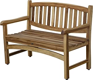 EcoDecors OD-1306 Kent Garden Outdoor Bench, 47x26x36, Natural Teak