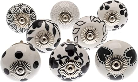 Lot de 14/superbes boutons de porte darmoire en c/éramique peints /à la main knoa