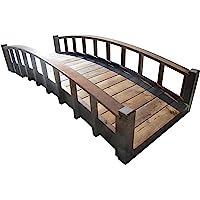 SamsGazebos Moon Bridges Japanese Style Arched Wood Garden Bridges, 8-Feet, Brown