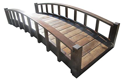 SamsGazebos Moon Bridges Japanese Style Arched Wood Garden Bridges, 8 Feet,  Brown