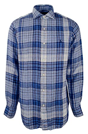 38c5441c4 Polo Ralph Lauren Men's 100% Linen Long Sleeve Plaid Sport Shirt at ...