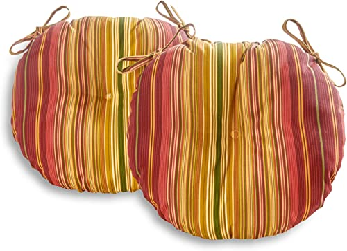 South Pine Porch AM5816S2-KINNABARI Kinnabari Stripe 15-inch Round Outdoor Bistro Chair Cushion