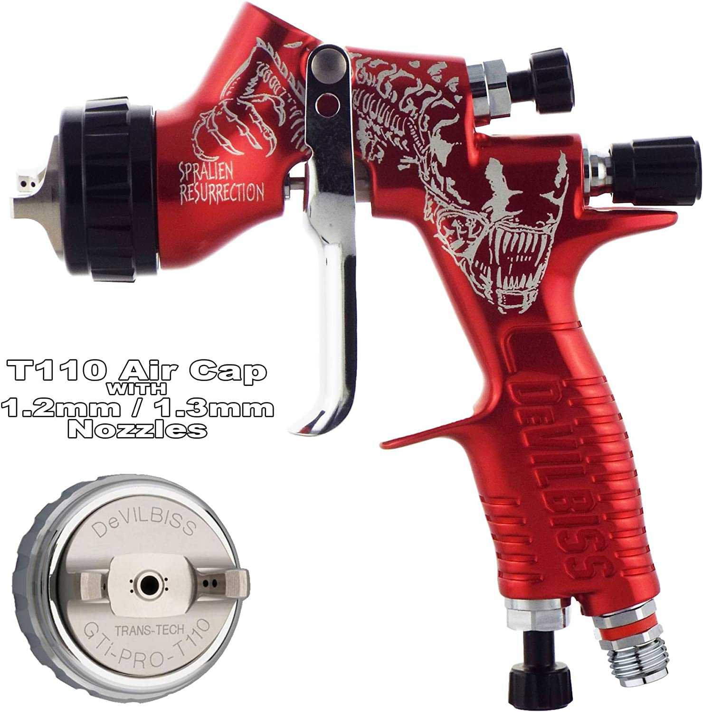 Devilbiss Gti Prolite Rot Alien T110 Trans Tech Air Gap Clearcoat Glänzend Glatt Spray Gun 1 2 1 3 Mm Set Bis Hohe Feststoffen Und Super Glattes Finishing Gun Auto