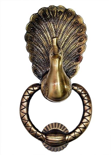 Indian Art Unique Antique Finish Vintage Design Peacock Door Knocker (Full  Brass) - Indian Art Unique Antique Finish Vintage Design Peacock Door Knocker