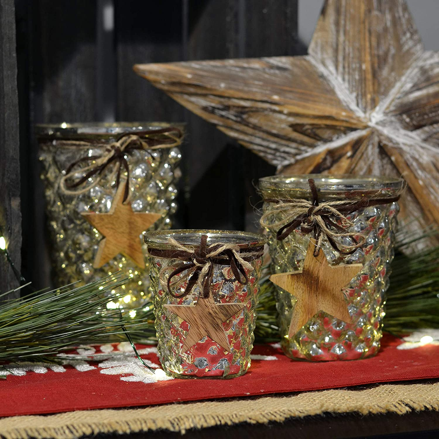 and 5 Inches 3 Twine and Faux Leather Wrapped Rustic Wooden Charms 4 WHW Whole House Worlds 3 Piece Silver Mercury Glass Candle Holders Hobnail Glass Hurricane Wind Lights Star Themed