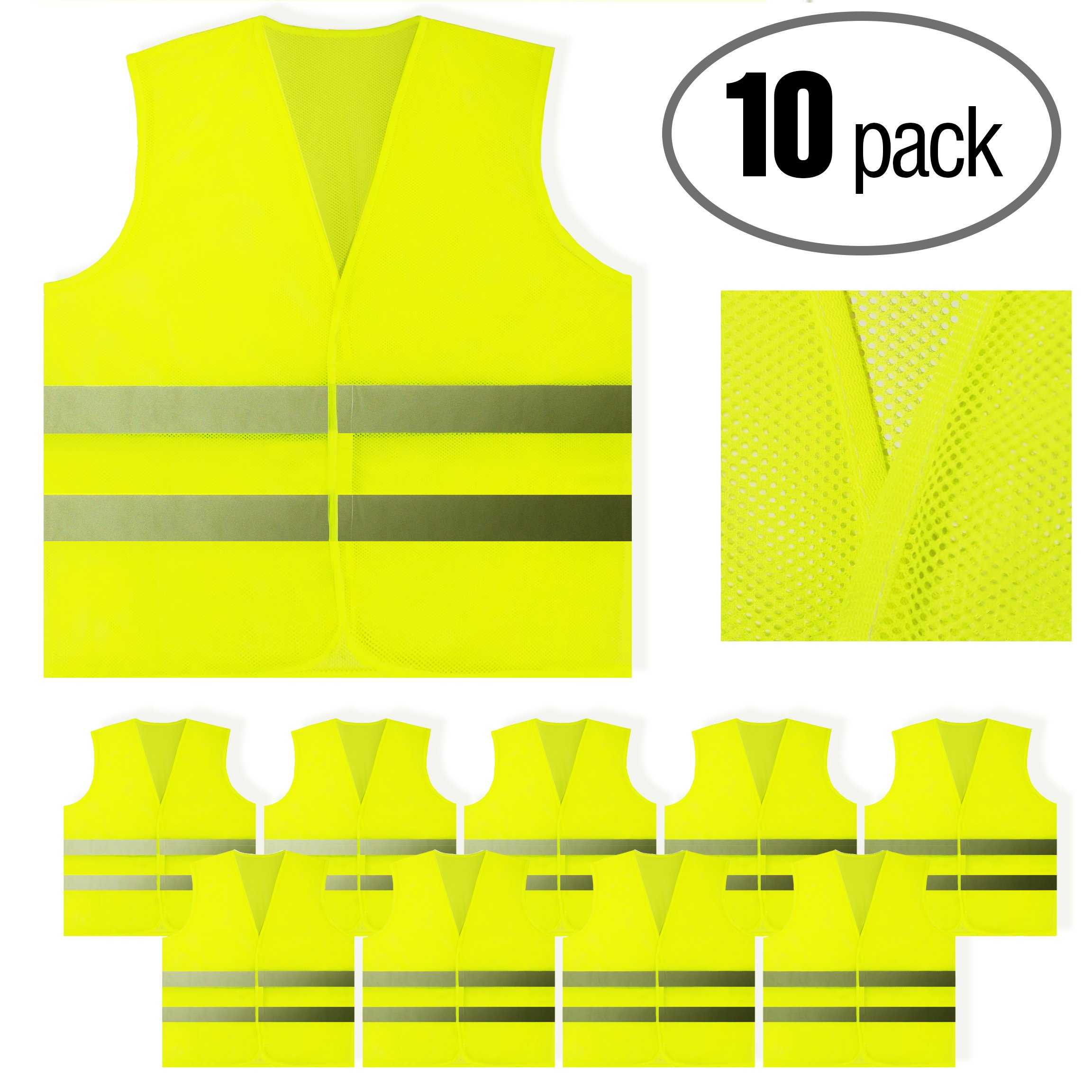 PeerBasics, 10 Pack, Yellow Reflective Safety Vest, Silver Strip, Bright Breathable Neon Yellow (Mesh, 10) by PeerBasics (Image #7)