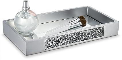 Amazoncom Dwellza Silver Mosaic Vanity Mirror Tray for Dresser