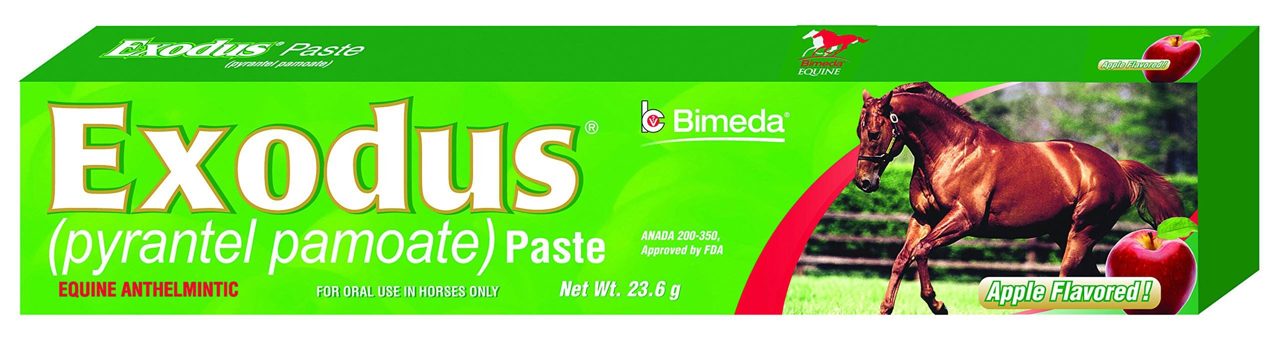 Bimeda EXODUS Equine Deworm Paste for Horses, Pyrantel Pamoate, 23.6gm, Apple Flavor