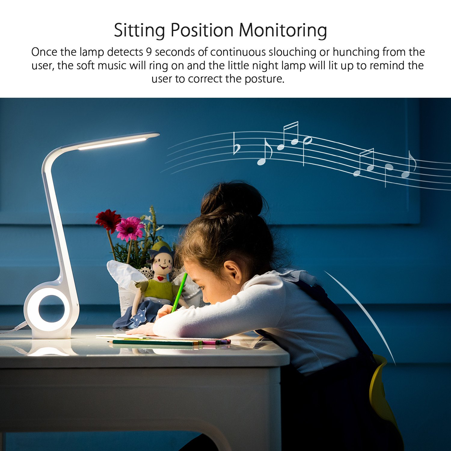 Chunnuan Glare-Free Dimmable LED Desk Lamp for Kids Posture Correct with Touch Control, Dimmable Brightness, Auto Timer Remind,Auto Adjust Brightness Function (White)