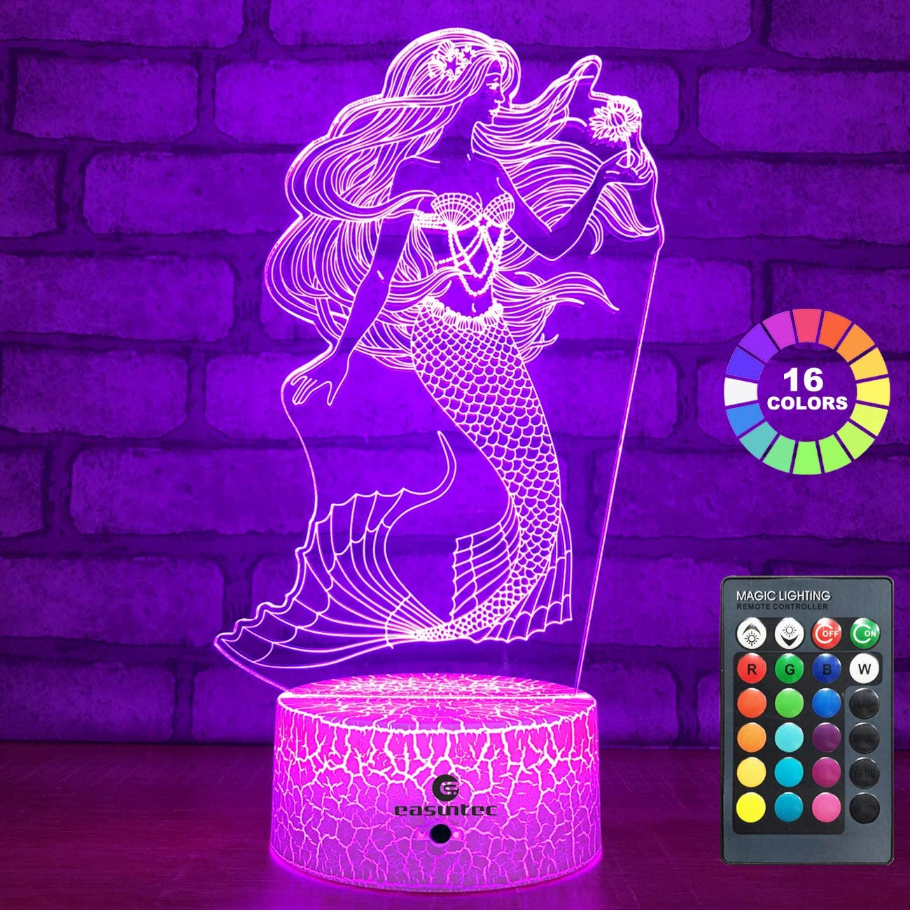 easuntec Mermaid Toys Night Light with Remote & Smart Touch 7 Colors + 16 Colors Changing Dimmable Mermaid Gifts 1 2 3 4 5 6 7 8 Year Old Girl Gifts (Mermaid 16WT)