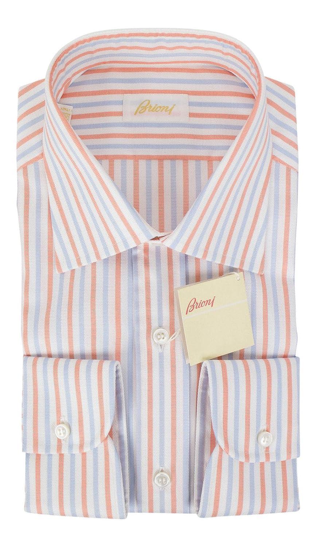 0a7017e9421 Brioni blueee orange Striped Cotton Slim Fit Dress Shirt Shirt Shirt Size  40 EU 15.75 US 417b8a