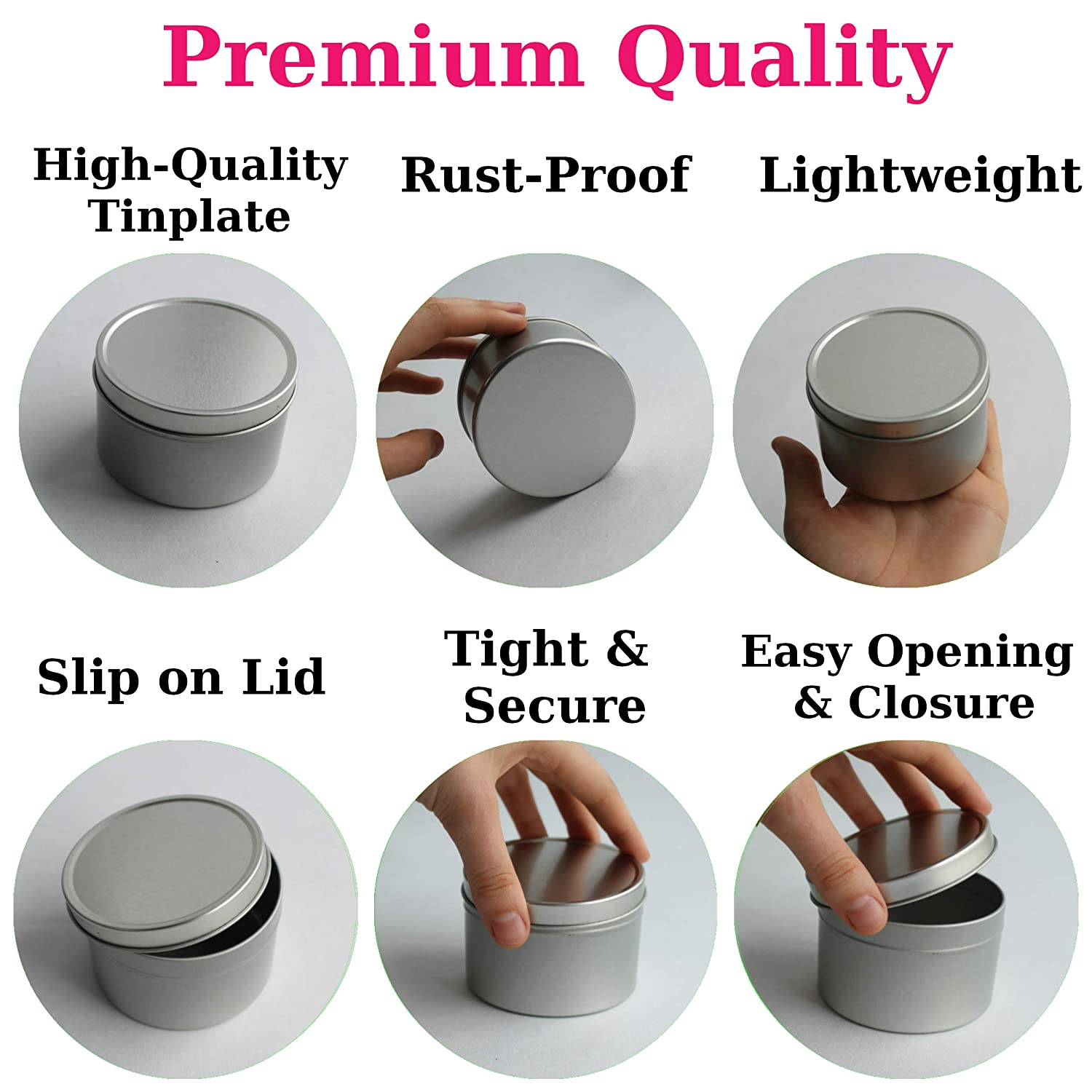 12 pcs /& Handmade with Love Stickers 24 pcs Cozyours 8oz Tins with Lids for Candle Making and Storage