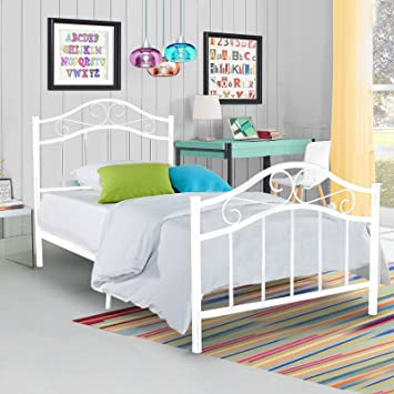 kingpex metal platform bed frame twin size steel mattress foundation kids teen bedroom home furniture white