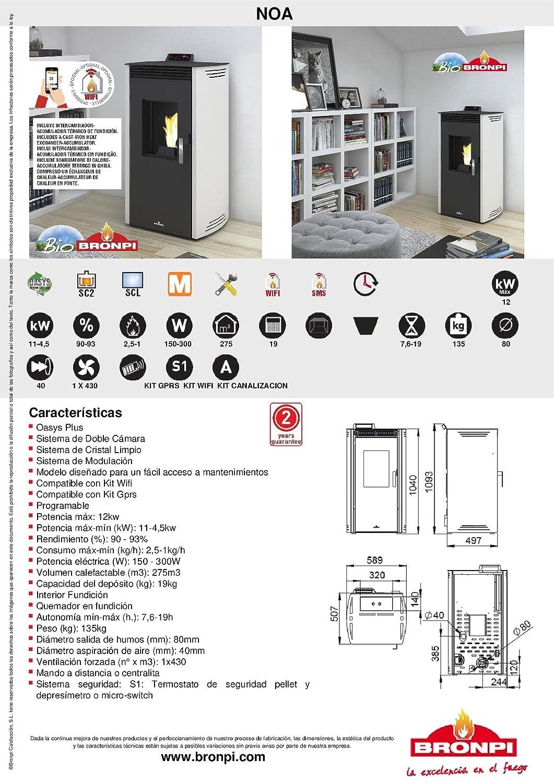 ESTUFA DE PELLET BRONPI MODELO NOA 12 KW COLOR MOKA: Amazon.es: Bricolaje y herramientas