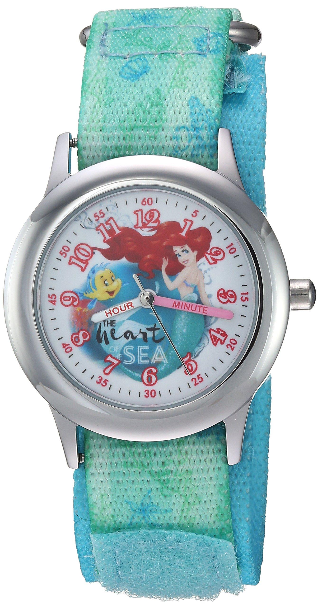 DISNEY Girls Princess Ariel Stainless Steel Analog-Quartz Watch with Nylon Strap, Green, 20 (Model: WDS000203) by Disney