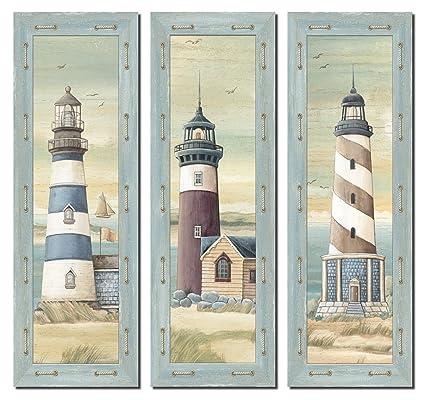 amazon com set of 3 lighthouse art prints beach country coastal
