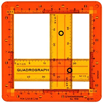 a8223d945bcd9 Quadrograph Adjustable Rectangle Square Figures Shape Drawing Drafting  Template Stencil 1:2 1:2.5