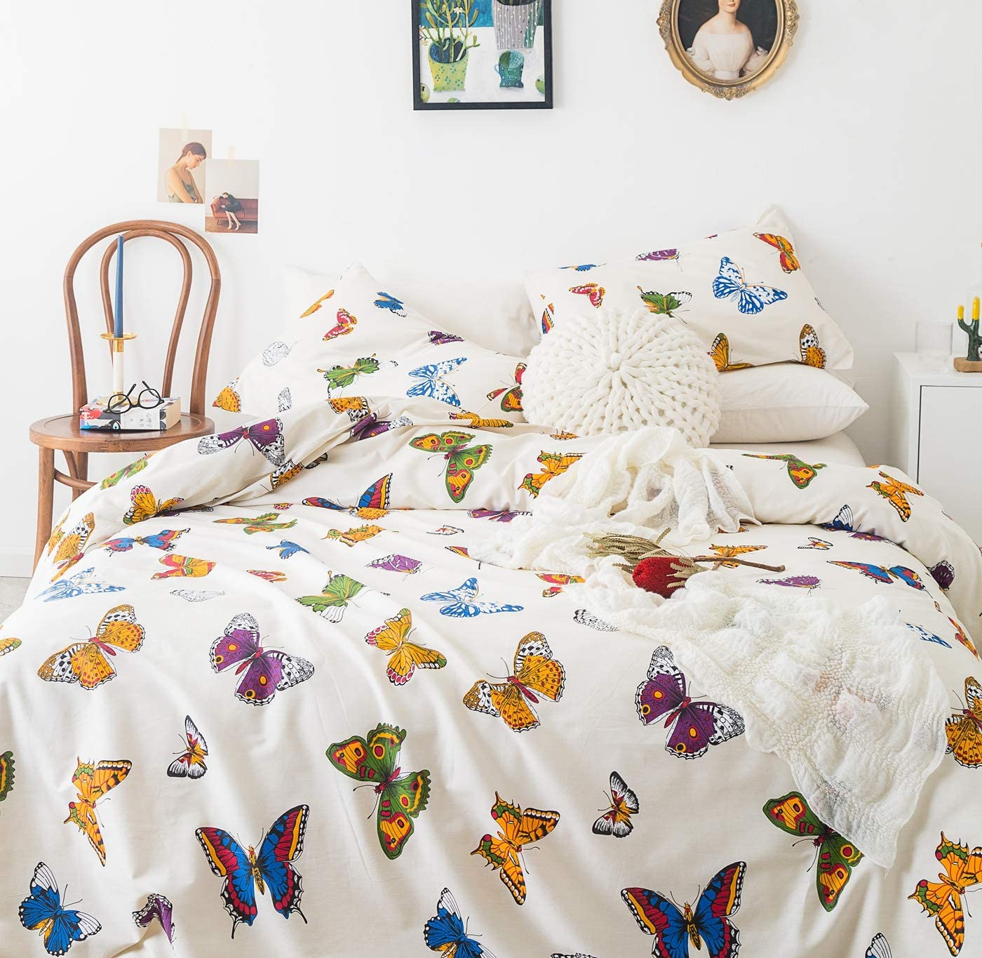 Yuheguoji 3 Pieces Duvet Cover Set 100 Cotton King Size Boho Butterfly Bedding Set 1 Colorful Animal Print Duvet Cover With Zipper Ties 2 Pillowcases Hotel Quality Soft Breathable Comfortable Durable Kitchen Dining Amazon Com
