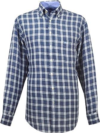 Fynch Hatton - Camisa Casual - con Botones - para Hombre Marrón marrón Large: Amazon.es: Ropa y accesorios