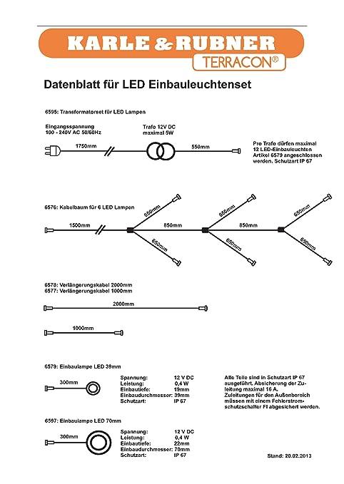 K&R Terracon Kabelbaum für 6 LED-Lampen: Amazon.de: Beleuchtung