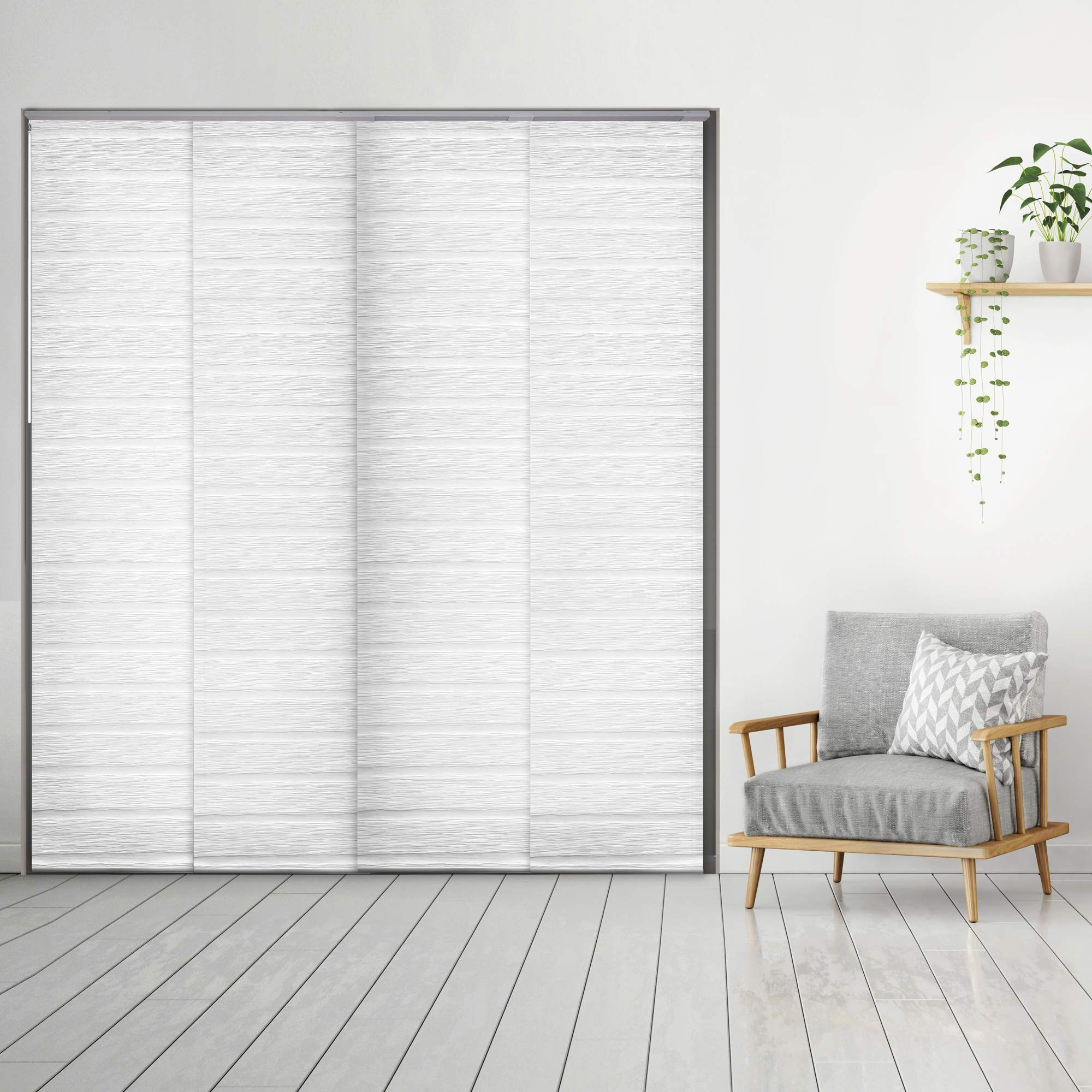 Godear Design Deluxe Adjustable Sliding Panel 45.8''-86'' x 96'', 4-Rail, Pleated Natural Woven Fabric, Swan by Godear Design