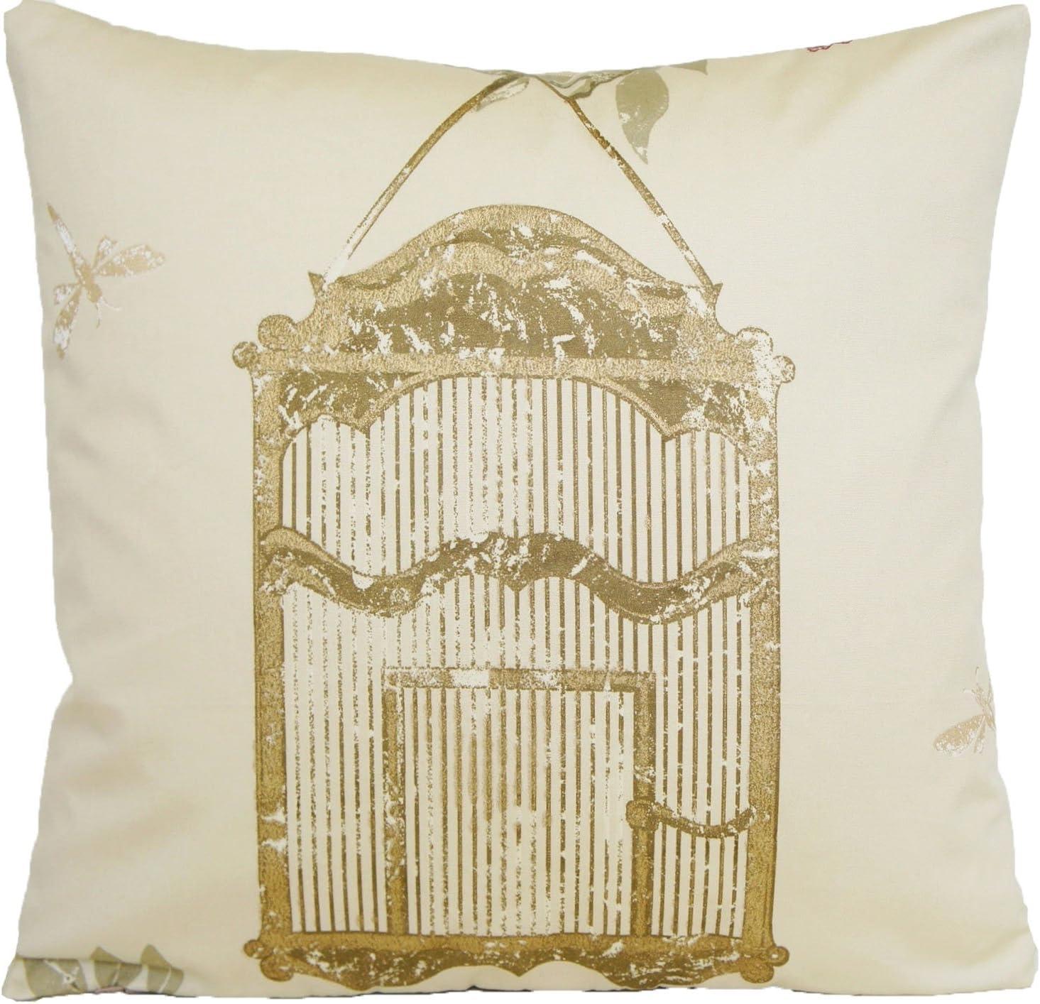 Gold Bird Cage Throw Pillow Case Modern Print Cushion Cover Nina Campbell Fabric Maroon