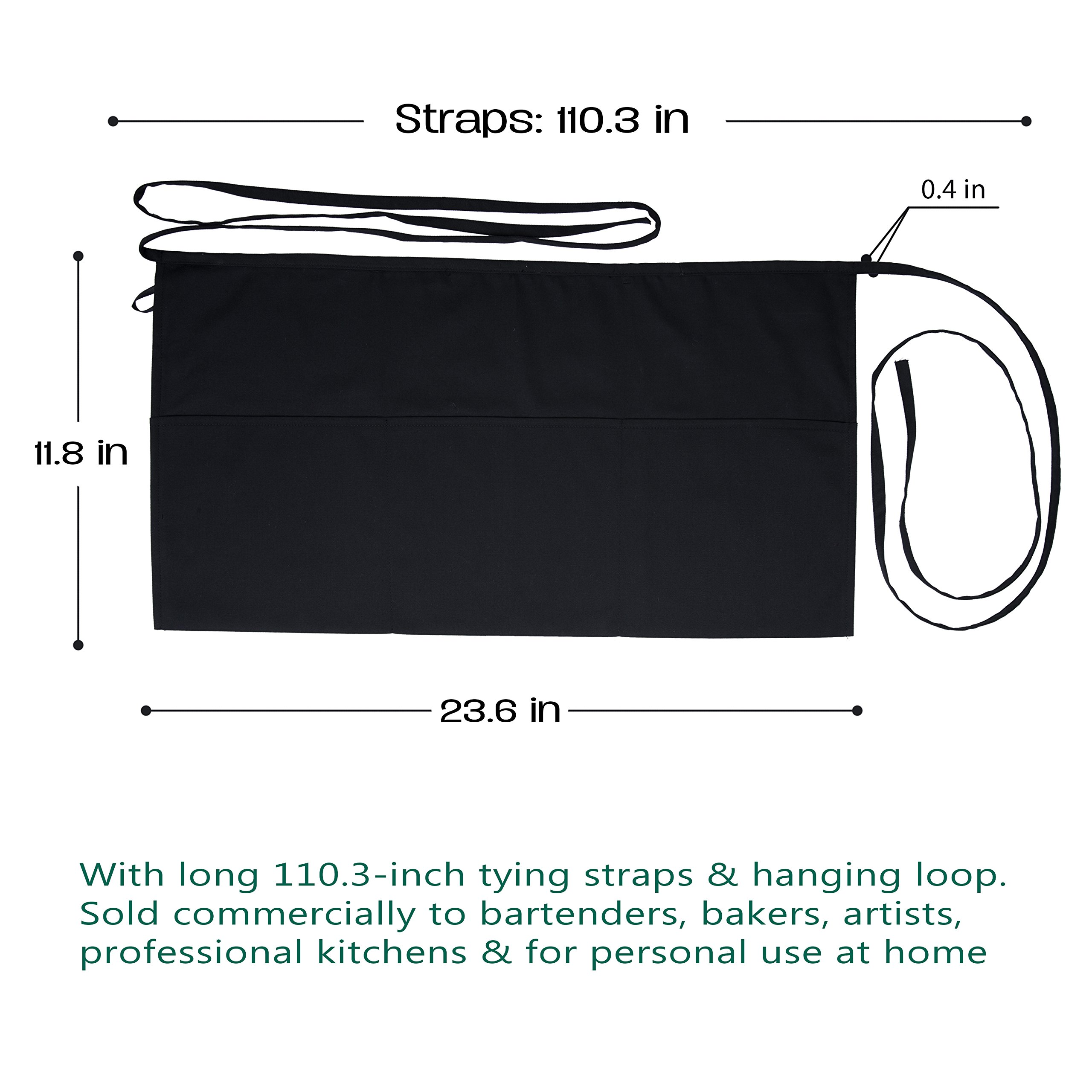 "Nezzon Waitress Apron with Pockets – 5 Pack with 3 Pockets: 7.9x6.5"" –Commercial Grade Weave 35% Cotton & 65% Polyester in Black – Professionally Hemmed Edges to Last – Machine Wash, Iron, Quick Dry"