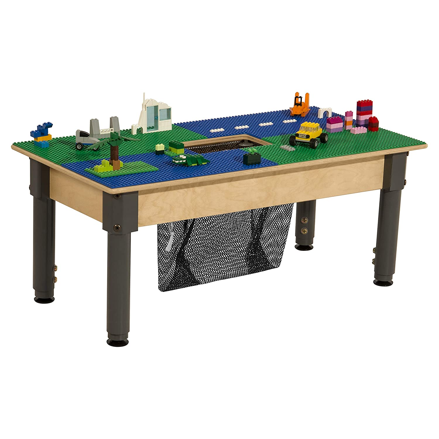 Time-2-Play Lego Compatible Table with Storage and Adjustable Legs 12-17 for Kids//Toddlers