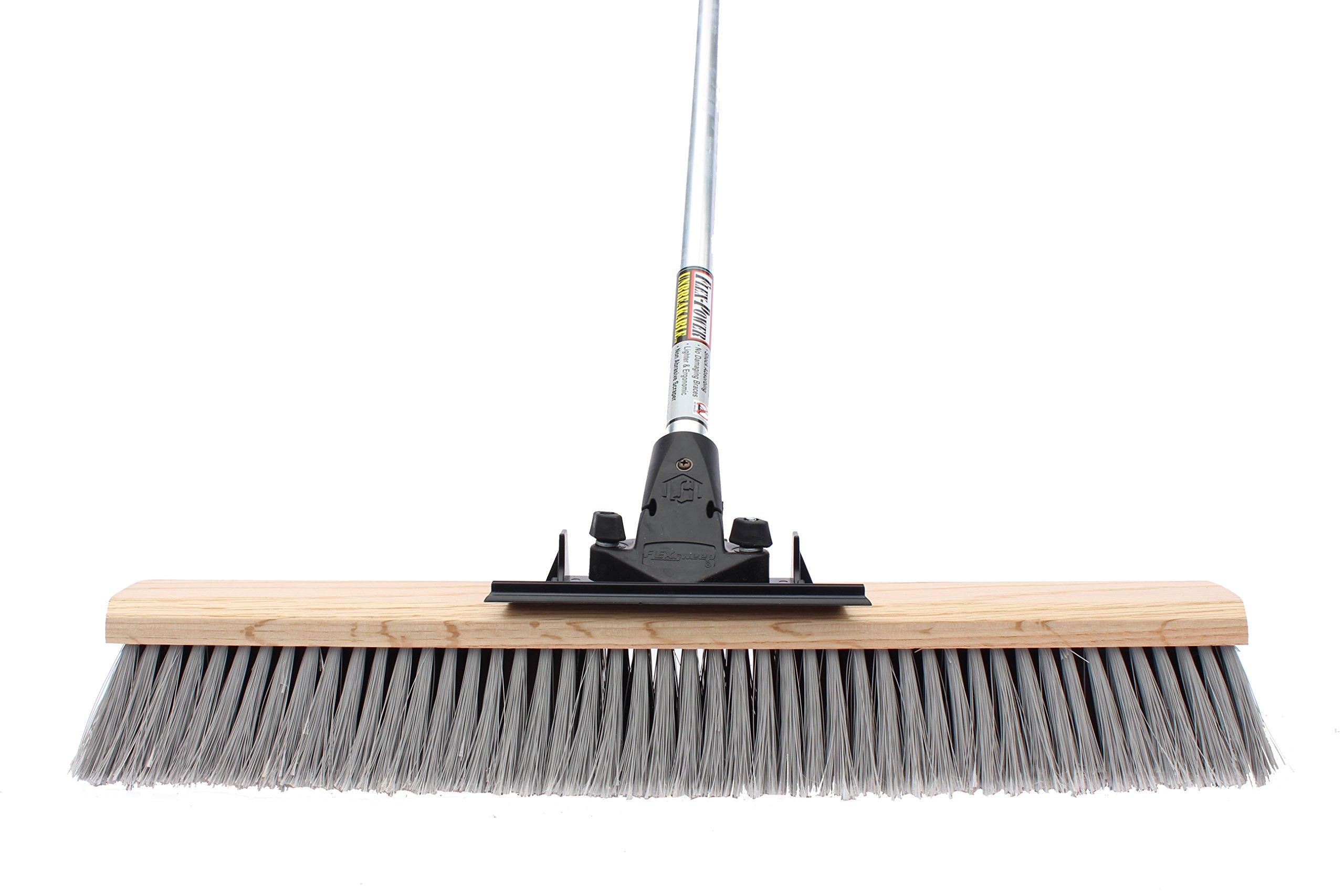 FlexSweep Unbreakable Commercial Push Broom (Contractors 30 Inch) Medium Bristles