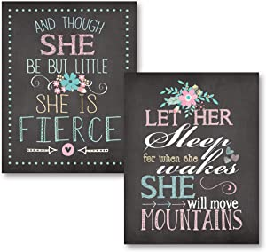 Let Her Sleep For When She Wakes She Will Move Mountains and Though She Be But Little She Is Fierce; Nursery Decor; Two 11x14in Unframed Paper Posters