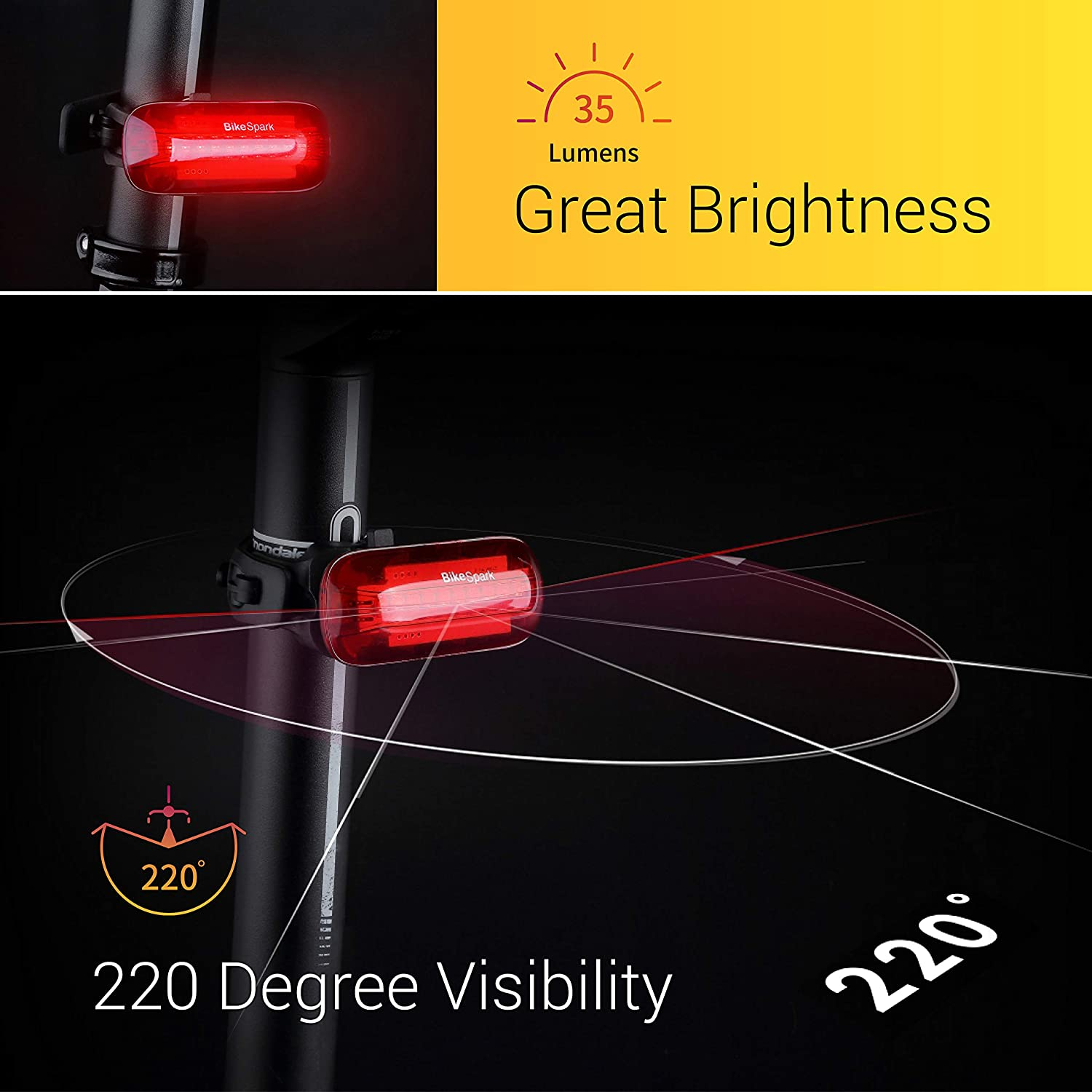 BikeSpark Auto-Sensing Rear Light G3-35 lm Super Bright LED Bike Tail Light with 220 Degree Visibility – Auto On Off Deceleration Flash by Motion Sensing – USB Rechargeable – Water Resistant IPX5