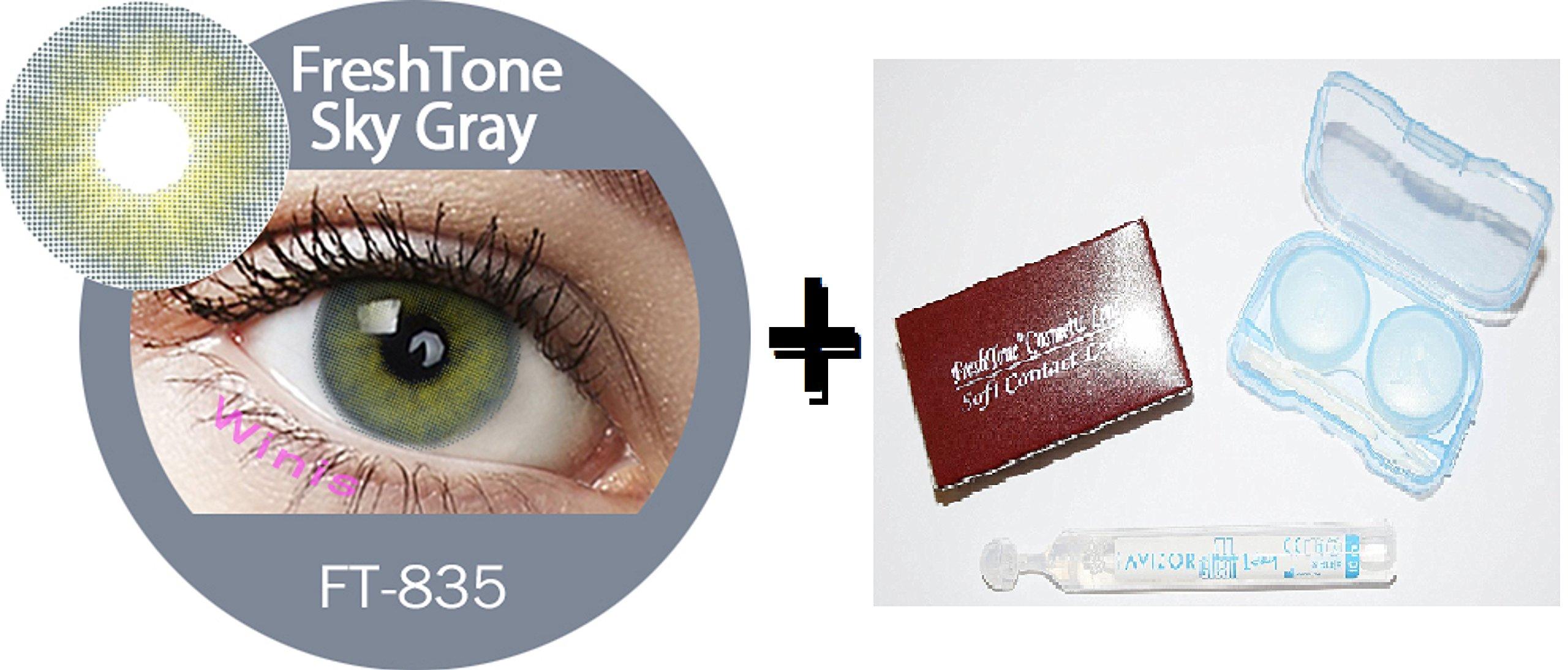 b2fe87d02b80c Lente de contacto de color Sky Gray 1 tonos freshtone® + Avizor Solution  multifunción para