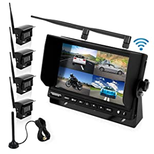 """Wireless Backup Rearview Dash Camera - Waterproof Car Parking Rear View Reverse Safety Vehicle Monitor System w/Quad View 7"""" Video LCD, DVR Recording, Night Vision - Remote Control - Pyle PLCMTR83QIR"""
