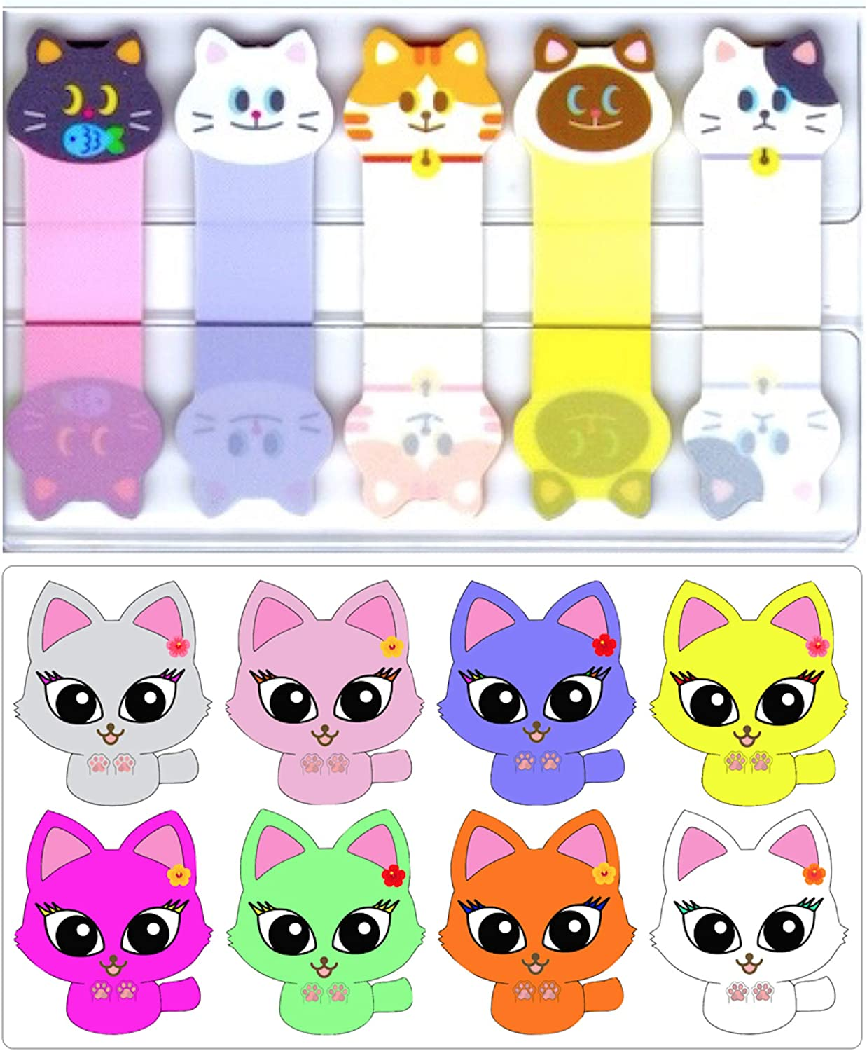 TraveT Funny Animals Sticks Bookmark Marker Memo Flags Index Tab Sticky Notes Office School Supplies,Kitten