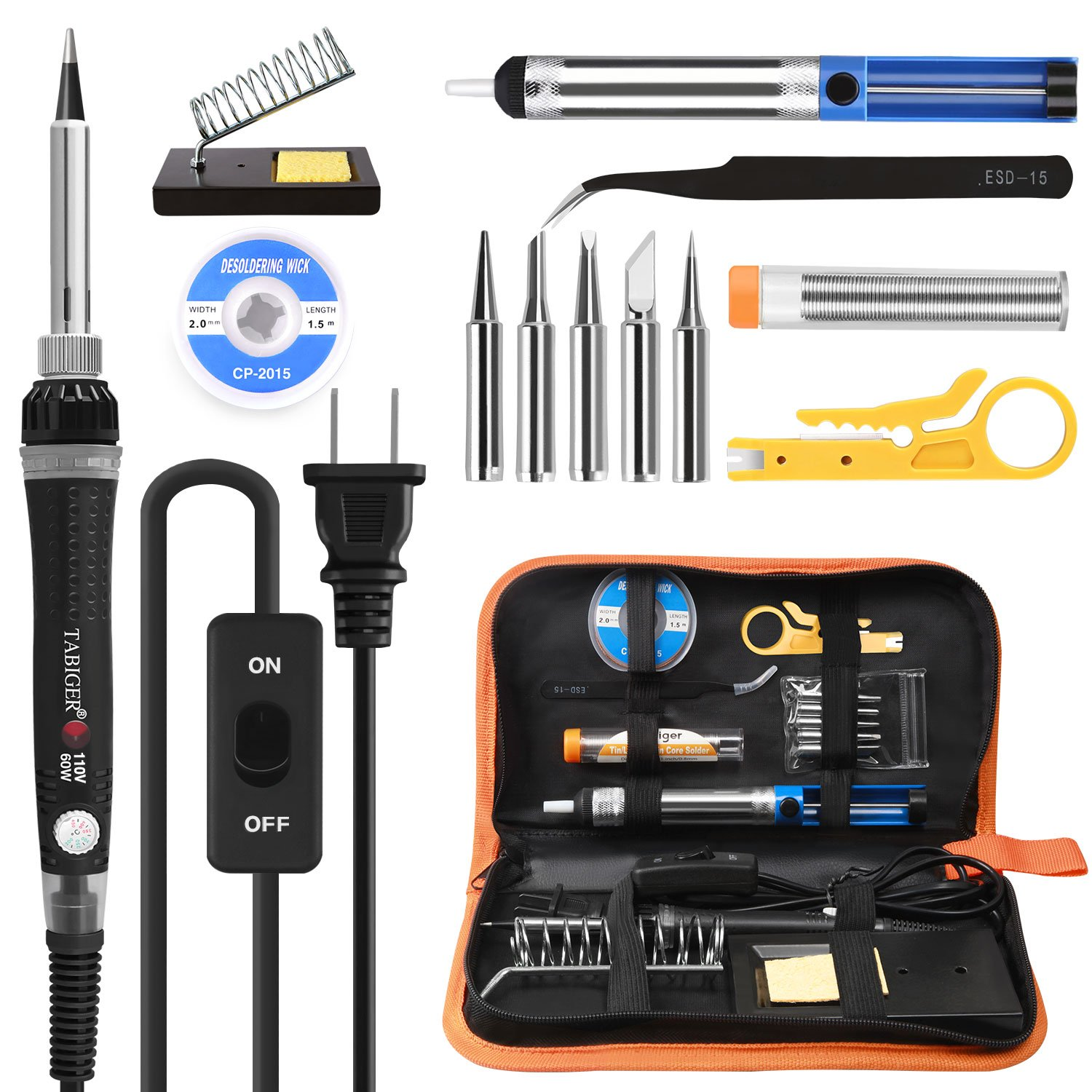 Tabiger Soldering Iron kit with Adjustable Temp 200-450°C and ON/OFF Switch, 60W Welding tool with 5 Soldering tips, Desoldering Pump, Solder Wick, Solder wire, Wire Stripper Cutter, Stand, Tool Case