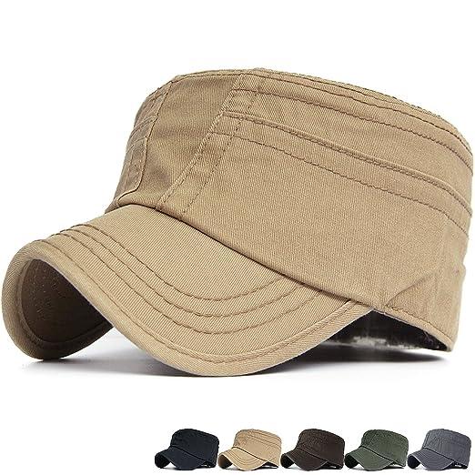 dac1199007009 Rayna Fashion Women Washed Denim Cotton Flat Top Hat Military Army Cadet Cap  Khaki